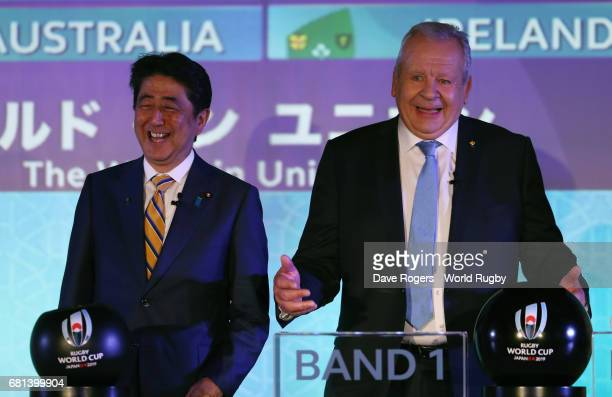 Shinzo Abe Prime Minister of Japan and Bill Beaumont Chairman of World Rugby via Getty Images address the audience during the Rugby World Cup 2019...