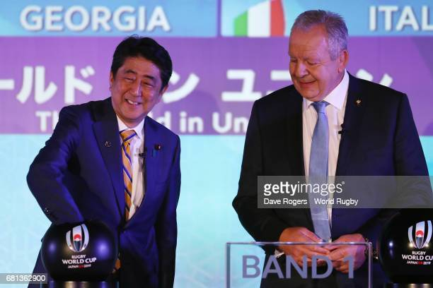 Shinzo Abe Prime Minister of Japan draws Japan during the Rugby World Cup 2019 Pool Draw at the Kyoto State Guest House on May 10 2017 in Kyoto Japan