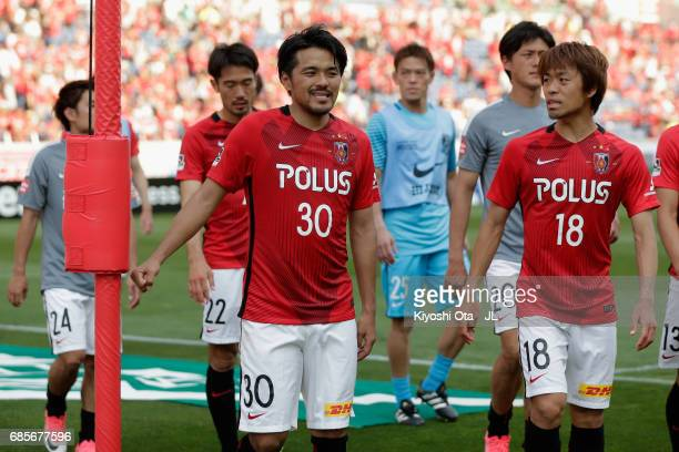 Shinzo Koroki and Urawa Red Diamonds reacts after his side's 33 draw in the JLeague J1 match between Urawa Red Diamonds and Shimizu SPulse at Saitama...