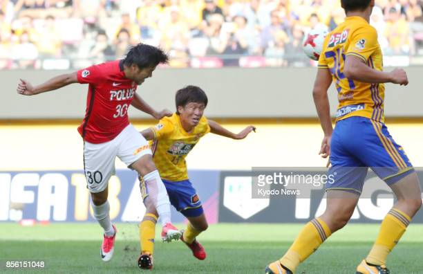 Shinzo Koroki heads his second goal during the second half of Urawa Reds' 32 win away to Vegalta Sendai in the JLeague first division on Oct 1 2017...