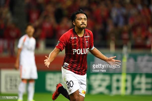 Shinzo Koroki of Urawa Red Diamonds celebrates after scoring his side's first goal during the J.League J1 match between Urawa Red Diamonds and...
