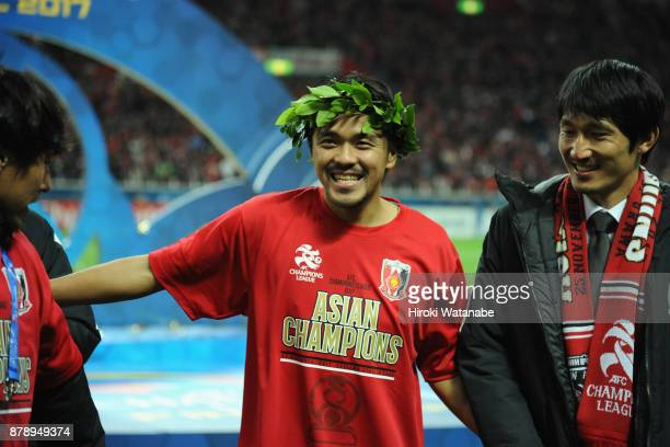 Shinzo Koroki of Urawa Red Diamonds celebrates after the AFC Champions League Final second leg match between Urawa Red Diamonds and AlHilal at...