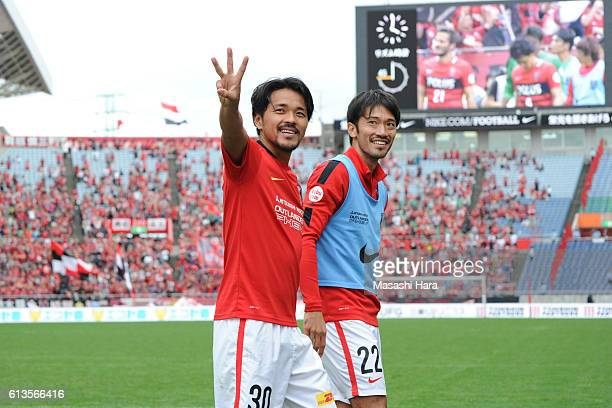 Shinzo Koroki of Urawa Red Diamonds celebrates his hat trick after the JLeague Levain Cup semi final second leg match between Urawa Red Diamonds and...