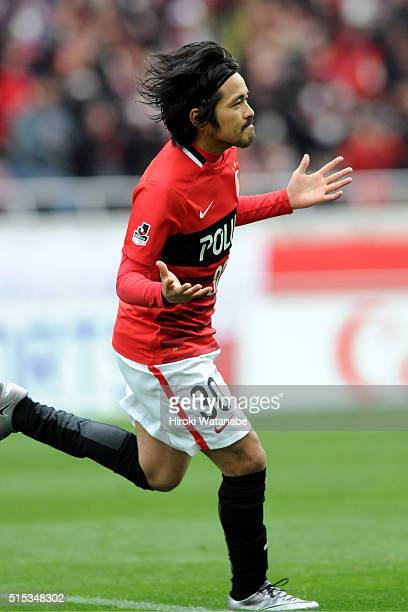 Shinzo Koroki of Urawa Red Diamonds celebrates scoring a goal during the JLeague match between Urawa Red Diamonds and Avispa Fukuoka at the Saitama...