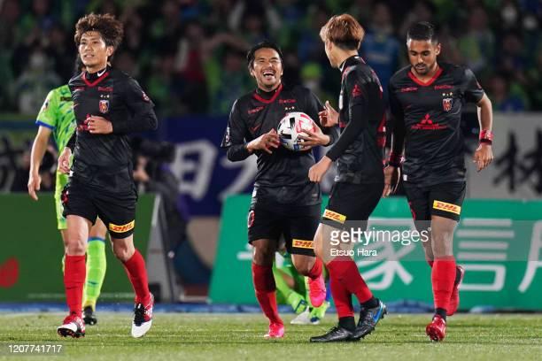 Shinzo Koroki of Urawa Red Diamonds celebrates scoring his side's first goal during the J.League MEIJI YASUDA J1 match between Shonan Bellmare and...