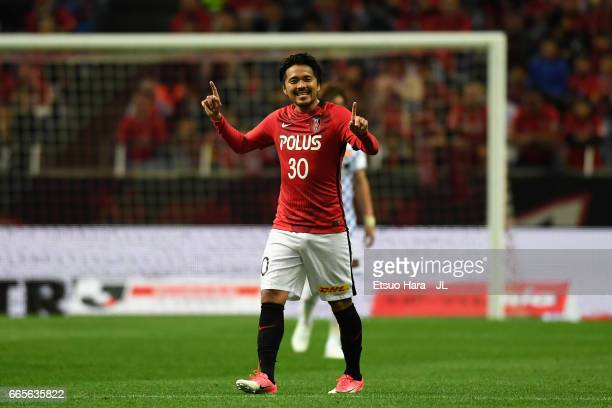 Shinzo Koroki of Urawa Red Diamonds celebrates scoring his side's second goal during the JLeague J1 match between Urawa Red Diamonds and Vegalta...