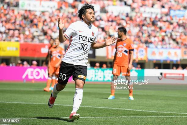 Shinzo Koroki of Urawa Red Diamonds celebrates scoring his side's second goal during the JLeague J1 match between Albirex Niigata and Urawa Red...