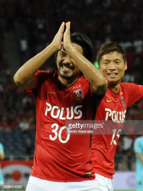 Shinzo Koroki of Urawa Red Diamonds celebrates scoring his team's second goal during the JLeague J1 match between Urawa Red Diamonds and Vissel Kobe...