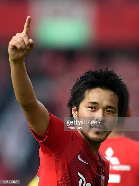 Shinzo Koroki of Urawa Red Diamonds celebrates scoring his team's first goal during the JLeague match between Urawa Red Diamonds and Kawasaki...