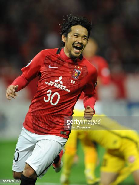 Shinzo Koroki of Urawa Red Diamonds celebrates scoring his team`s sixth goal during the AFC Champions League Group F match between Urawa Red Diamonds...