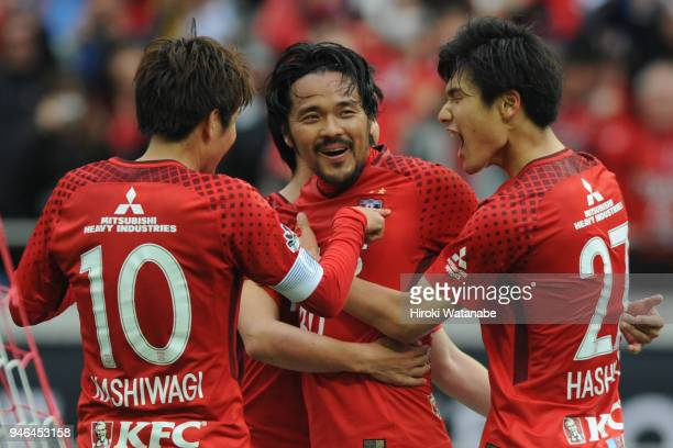 Shinzo Koroki of Urawa Red Diamonds celebrates scoring his team's second goal during the JLeague J1 match between Urawa Red Diamonds and Shimizu...