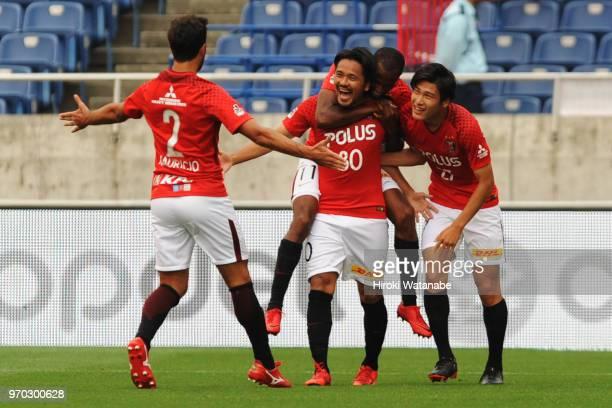 Shinzo Koroki of Urawa Red Diamonds celebrates scoring his team's second goal during the J.League Levain Cup Play-Off second leg between Urawa Red...