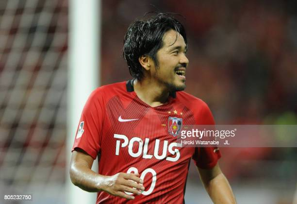 Shinzo Koroki of Urawa Red Diamonds celebrates scoring the opening goal during the JLeague J1 match between Urawa Red Diamonds and Sanfrecce...