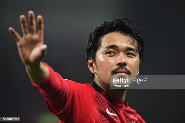 Shinzo Koroki of Urawa Red Diamonds celebrates side's 70 win after the JLeague J1 match between Urawa Red Diamonds and Vegalta Sendai at Saitama...