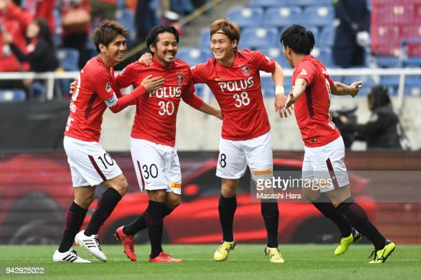 Shinzo Koroki of Urawa Red Diamonds celebrates the first goal during the J.League J1 match between Urawa Red Diamonds and Vegalta Sendai at Saitama...