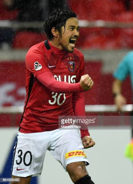 Shinzo Koroki of Urawa Red Diamonds celebrates the third goal during the JLeague J1 match between Urawa Red Diamonds and Gamba Osaka at Saitama...