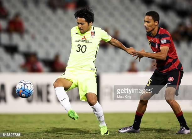 Shinzo Koroki of Urawa Red Diamonds controls the ball during the AFC Asian Champions League match between the Western Sydney Wanderers and the Urawa...