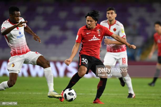Shinzo Koroki of Urawa Red Diamonds controls the ball during the FIFA Club World Cup UAE 2017 Match for 5th Place between Wydad Casablanca and Urawa...