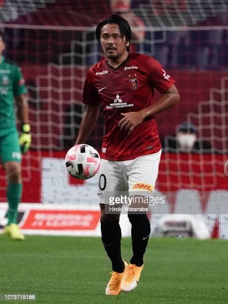 Shinzo Koroki of Urawa Red Diamonds in action during the J.League Meiji Yasuda J1 match between Urawa Red Diamonds and Kawasaki Frontale at the...