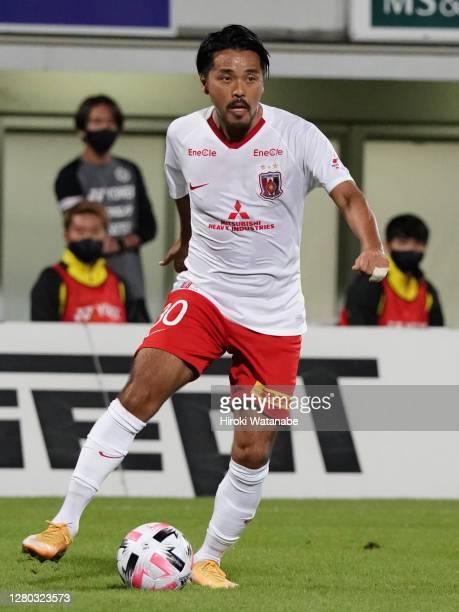 Shinzo Koroki of Urawa Red Diamonds in action during the J.League Meiji Yasuda J1 match between Kashiwa Reysol and Urawa Red Diamonds at Sankyo...