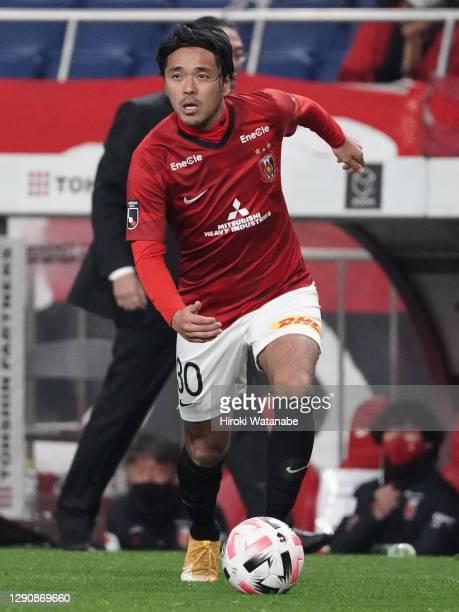 Shinzo Koroki of Urawa Red Diamonds in action during the J.League Meiji Yasuda J1 match between Urawa Red Diamonds and Shonan Bellmare at the Saitama...