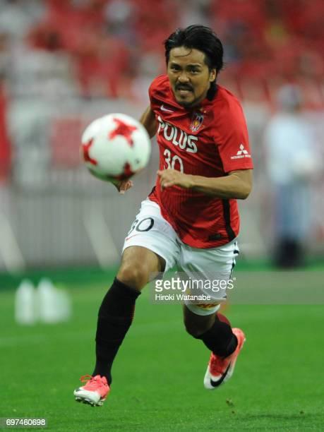 Shinzo Koroki of Urawa Red Diamonds in action during the JLeague J1 match between Urawa Red Diamonds and Jubilo Iwata at Saitama Stadium on June 18...