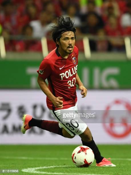 Shinzo Koroki of Urawa Red Diamonds in action during the JLeague J1 match between Urawa Red Diamonds and Albirex Niigata at Saitama Stadium on July 9...