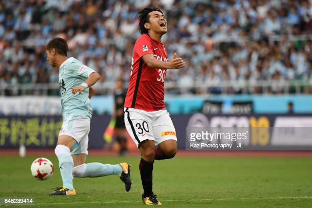 Shinzo Koroki of Urawa Red Diamonds shows frustration during the JLeague J1 match between Jubilo Iwata and Urawa Red Diamonds at Shizuoka Stadium...