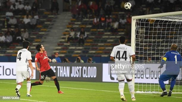 Shinzo Koroki of Urawa Reds blasts over from close range FIFA Club World Cup UAE 2017 Second Round Match between Al Jazira and Urawa Reds at the...