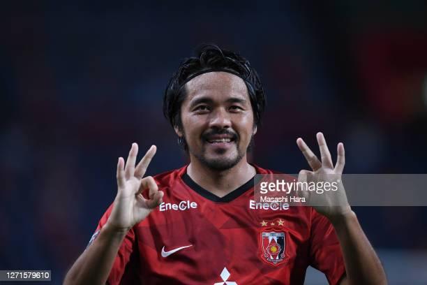 Shinzo Koroki of Urawa Reds celebrates the first goal during the JLeague Meiji Yasuda J1 match between Urawa Red Diamonds and Sagan Tosu at the...