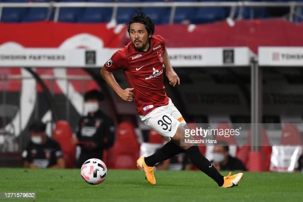 Shinzo Koroki of Urawa Reds in action during the J.League Meiji Yasuda J1 match between Urawa Red Diamonds and Sagan Tosu at the Saitama Stadium on...