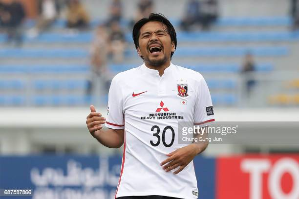 Shinzoh Kohrogi of Urawa Red Diamonds reacts during the AFC Champions League Round of 16 match between Jeju United FC and Urawa Red Diamonds at Jeju...