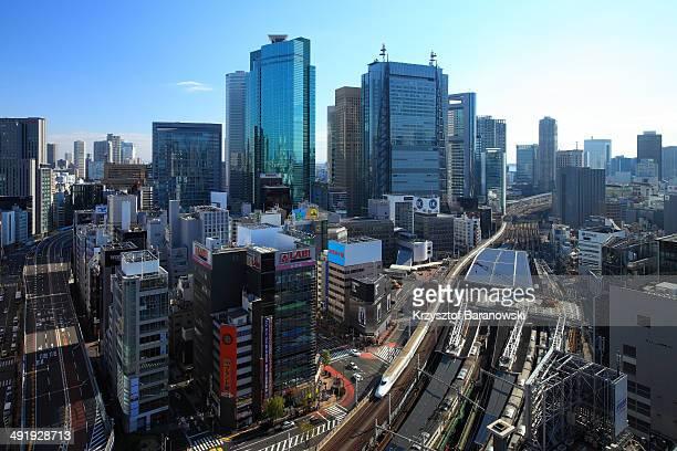 Shiodome Cityscape with Shinkansen