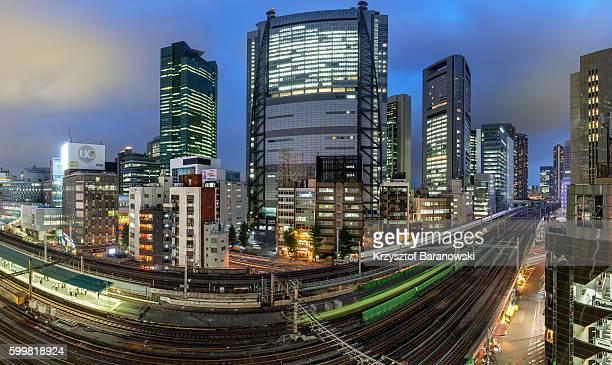 Shiodome Panorama at Night, Tokyo, Japan.