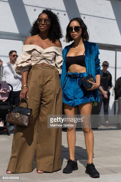 Shiona Turini Aimee Song are seen attending Public School during New York Fashion Week wearing Johanna Ortiz Self Portrait on September 10 2017 in...