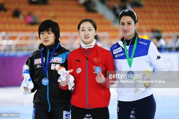 Shione Kaminaga of Japan Yang Liu of China and Cynthia Mascitto of Italy pose in the Ladies 1000m medal ceremony during day one of the ISU World Cup...