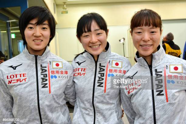 Shione Kaminaga Yuki Kikuchi and Sumire Kikuchi pose for photographs after a press conference during day two of the 40th All Japan Short Track Speed...