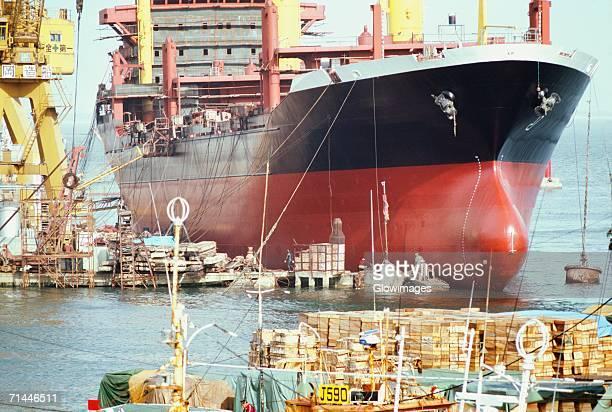 Ship anchored at a harbor, Supertanker Construction, Fukuoka, Japan