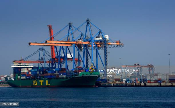 A ship anchored at Visakhapatnam Seaport on February 2 2016 in Visakhapatnam India It is India's second largest port by volume of cargo handled