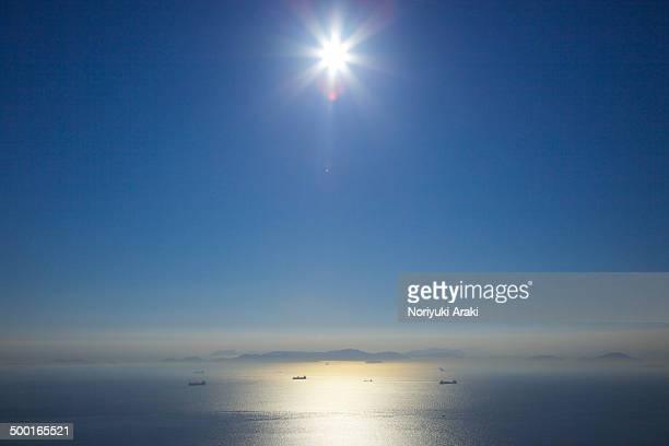 Ship and the seto inland sea of backlight