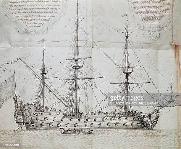 Ship at anchor engraving from the Atlas de Colbert France 17th century