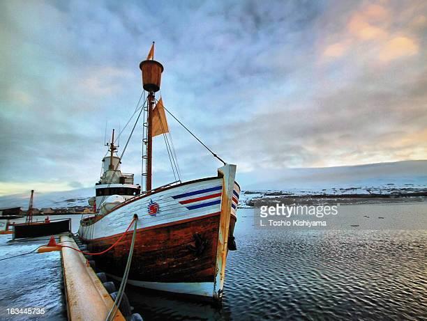 Ship at the dock in Akureyri, Iceland