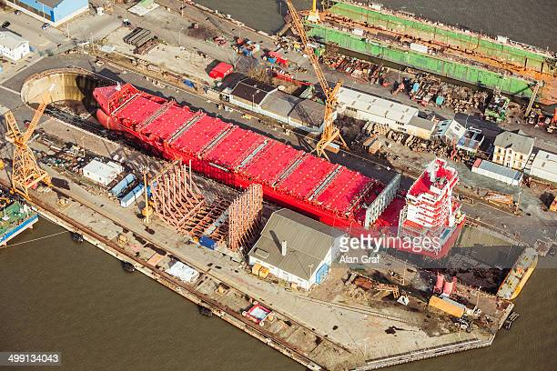 Ship being built in a dry dock