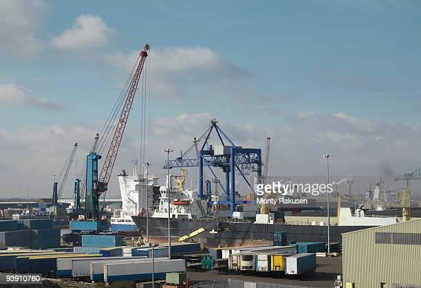 ship being loaded at a port - monty rakusen stock-fotos und bilder