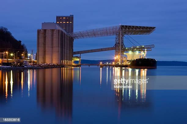 Ship Being Loaded At Grain Terminal In Tacoma Washington