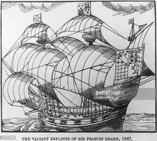 1587 A ship belonging to explorer pirate and navigator Sir Francis Drake flying the cross of St George and a standard