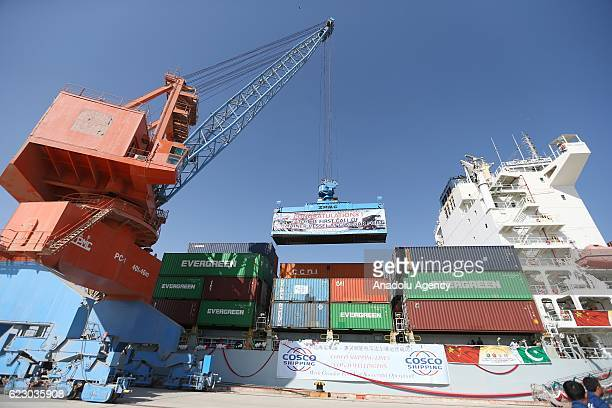 Ship carrying containers are seen during the opening of a trade project in Gwadar port, west of Karachi on November 13, 2016. Pakistani Prime...