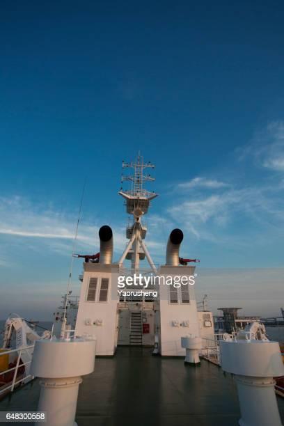 ship chimney in blue sky