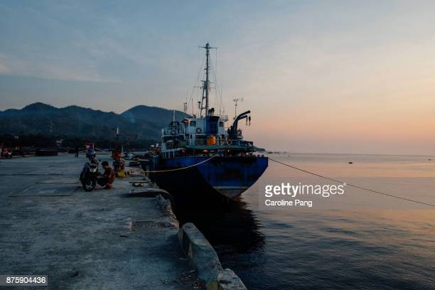 Ship docks at the Port of Ende, Flores Indonesia
