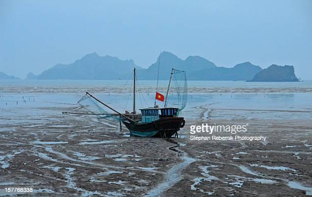 a ship during ebb tide - stephan rebernik stock-fotos und bilder